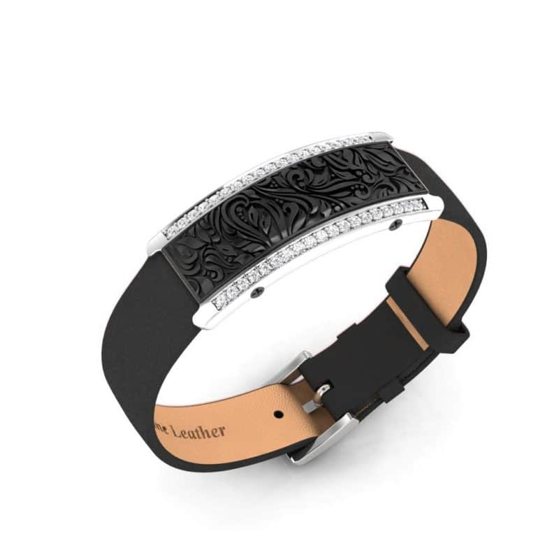 Milan contactless payment wearable bracelet Swarovski crystals black and black leather main view