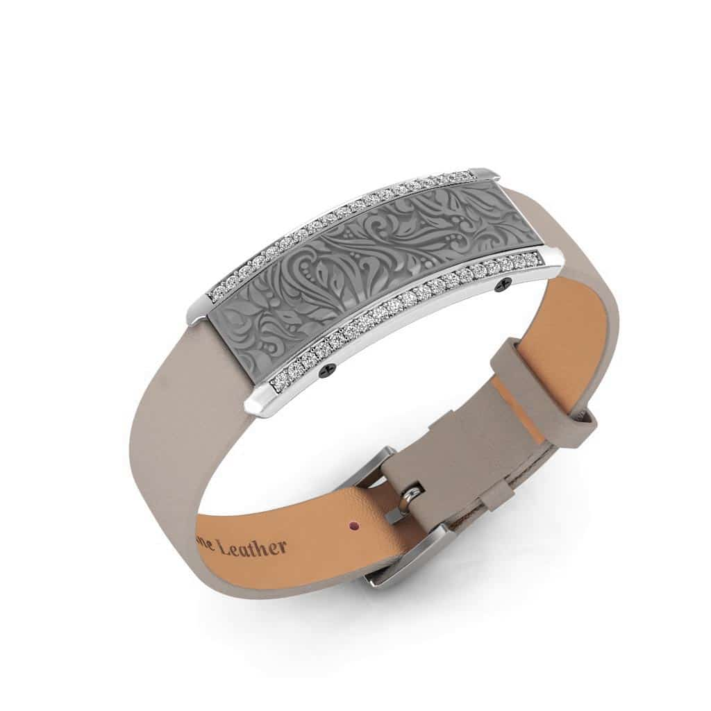 Milan contactless payment wearable bracelet Swarovski crystals flint grey and grey leather main view