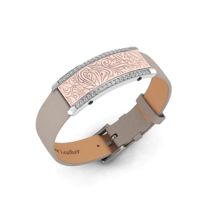 Milan contactless payment wearable bracelet Swarovski crystals shell pink and grey leather main view
