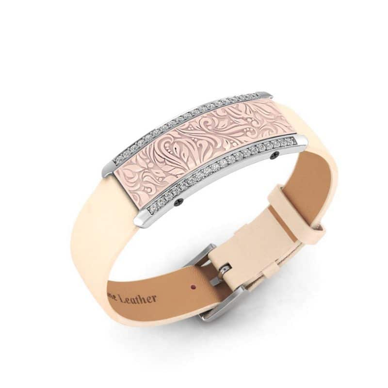 Milan contactless payment wearable bracelet Swarovski crystals shell pink and ivory leather main view