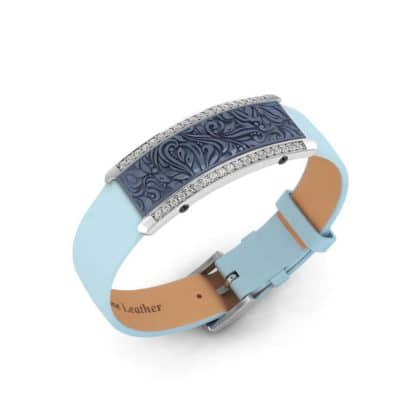 Milan contactless payment wearable bracelet Swarovski crystals ocean blue and blue leather main view