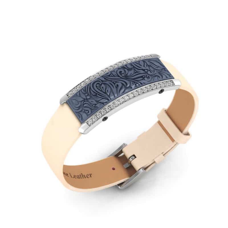 Milan contactless payment wearable bracelet Swarovski crystals ocean blue and ivory leather main view