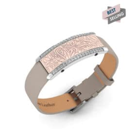 Milan contactless payment wearable bracelet Swarovski crystals shell pink and grey leather main view bestseller