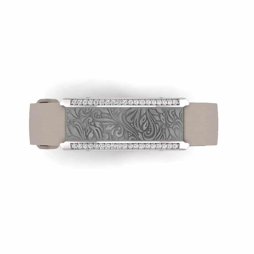 Milan contactless payment wearable bracelet Swarovski crystals flint grey and grey leather overview