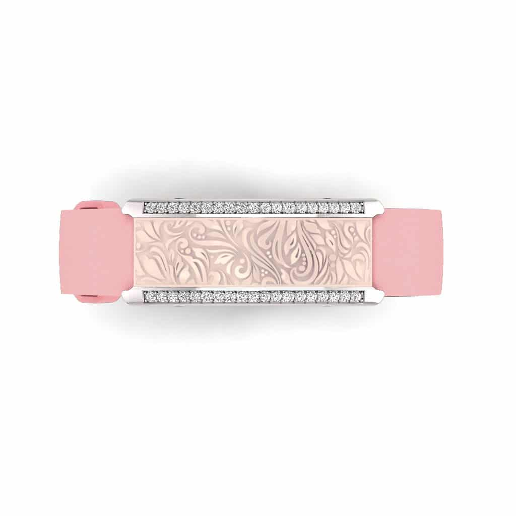 Milan contactless payment wearable bracelet Swarovski crystals shell pink and pink leather overview