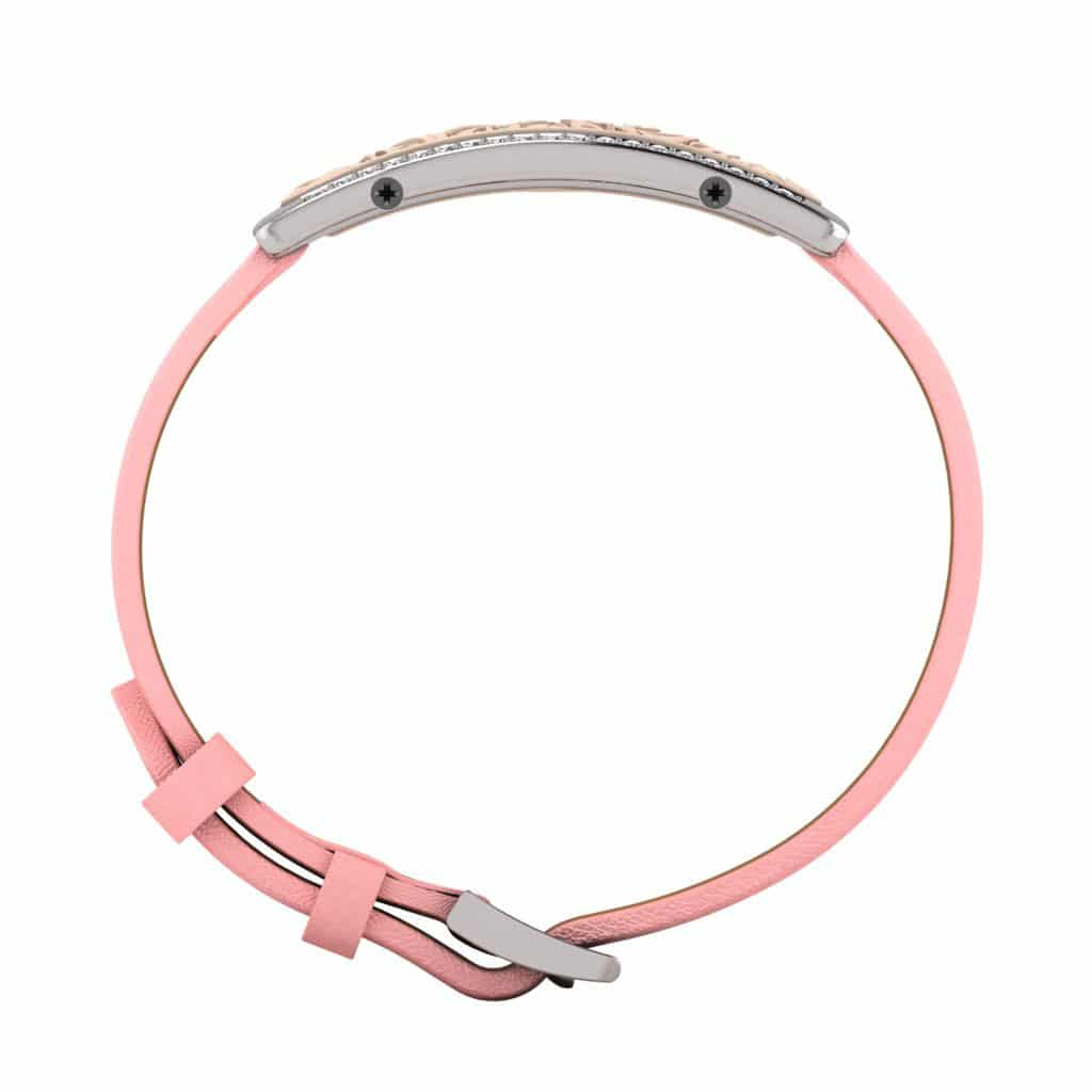 Milan contactless payment wearable bracelet Swarovski crystals shell pink and pink leather side view