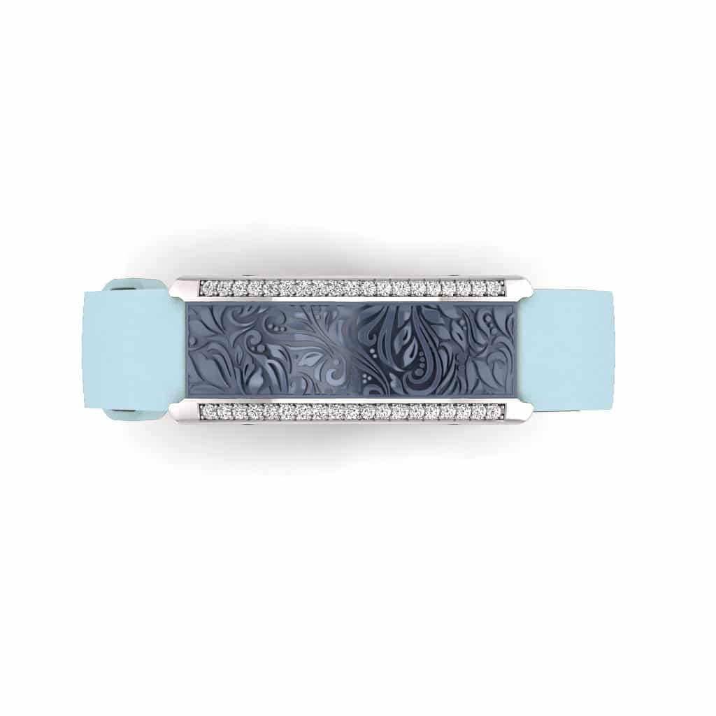 Milan contactless payment wearable bracelet Swarovski crystals ocean blue and blue leather overview