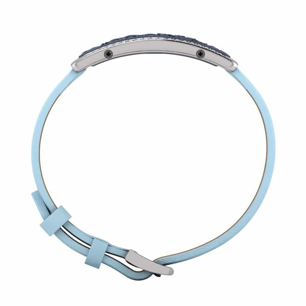 Milan contactless payment wearable bracelet Swarovski crystals ocean blue and blue leather side view