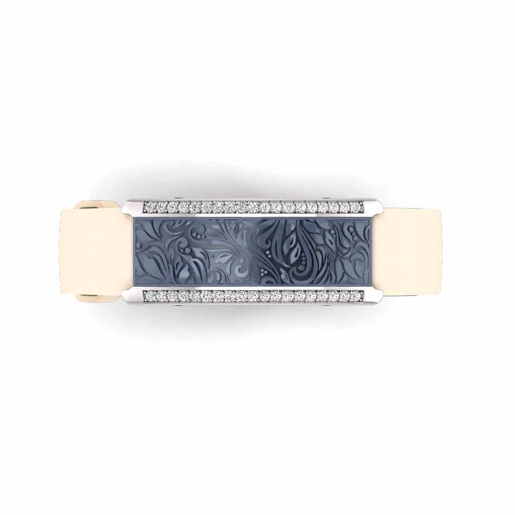 Milan contactless payment wearable bracelet Swarovski crystals ocean blue and ivory leather overview