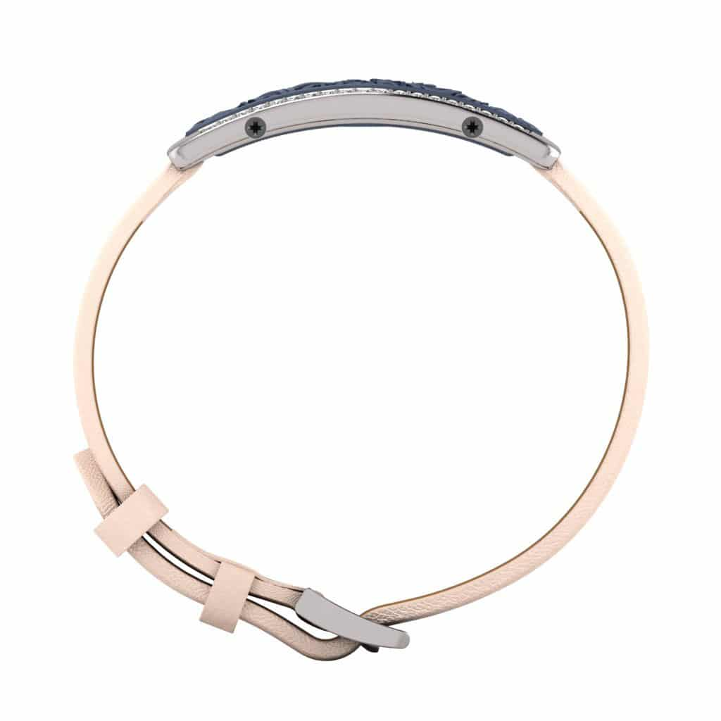 Milan contactless payment wearable bracelet Swarovski crystals ocean blue and ivory leather side view