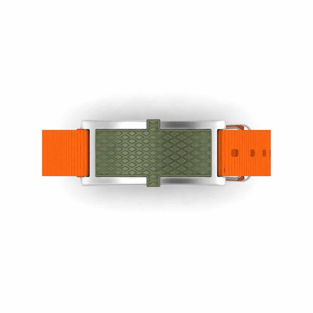 Oxford contactless payment wearable bracelet khaki green and orange nylon face and overview