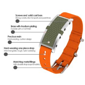 Oxford contactless payment wearable bracelet khaki green and orange nylon product details specification