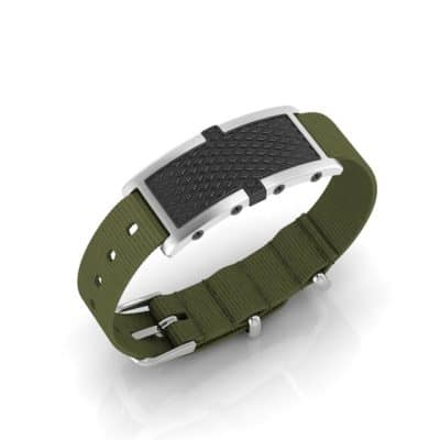 Oxford contactless payment wearable bracelet black and khaki green nylon main view