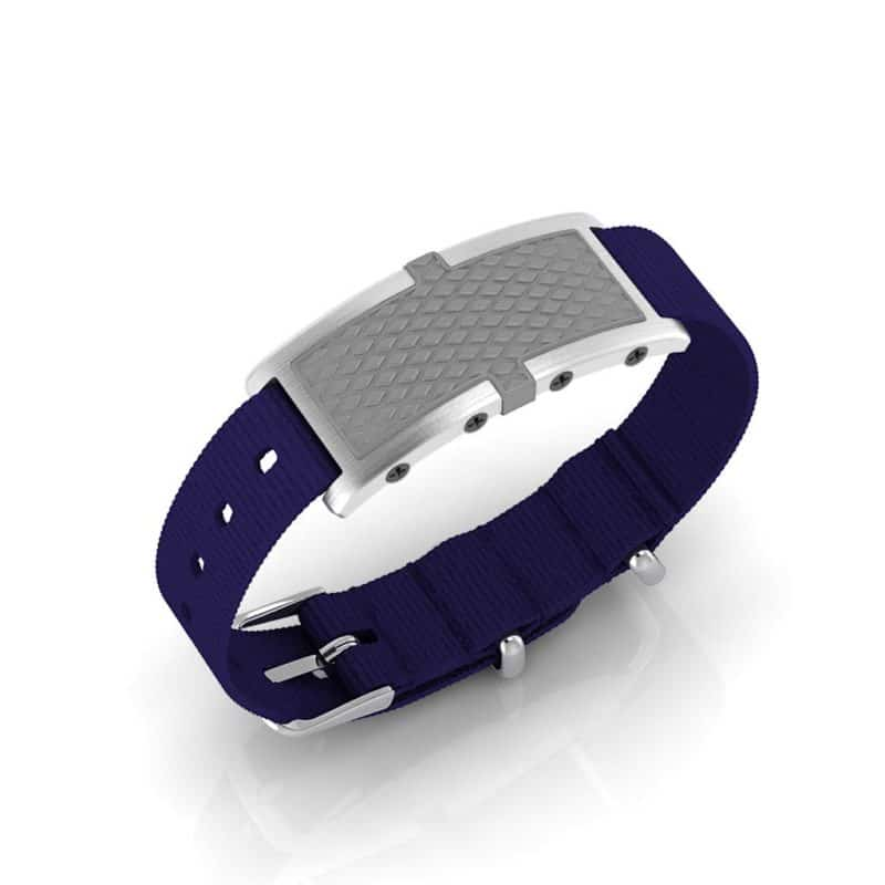 Oxford contactless payment wearable bracelet flint grey and blue nylon main view