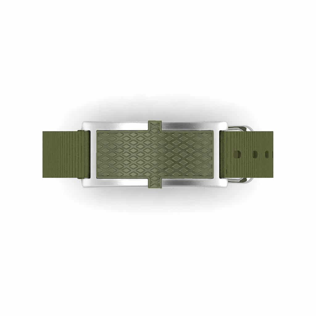 Oxford contactless payment wearable bracelet khaki green and khaki green nylon face and overview