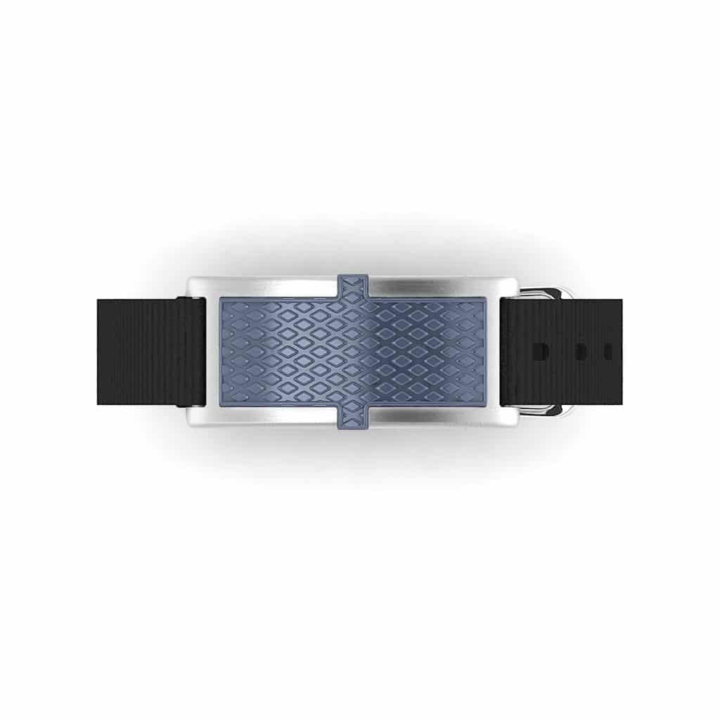 Oxford contactless payment wearable bracelet ocean blue and black nylon face and overview