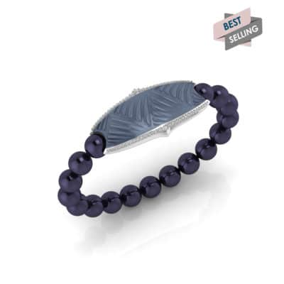 Paris contactless payment wearable bracelet Swarovski crystals ocean blue and midnight blue Swarovski pearls main view bestseller