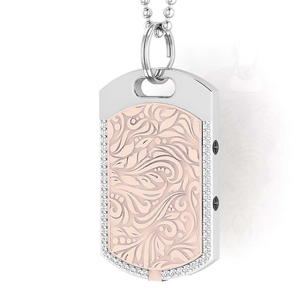 Vienna contactless payment wearable pendant Swarovski crystals shell pink close up